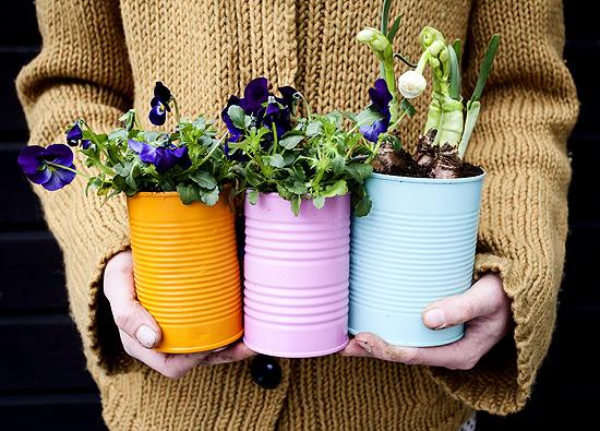 Blechdosen Blumenvase